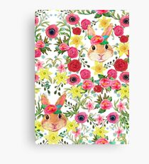 Easter Bunny, Easter Rabbit, Spring flowers painted in watercolor Canvas Print
