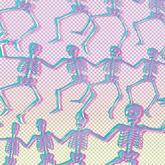 'transparent grid dancing skeletons' Poster by thecheek