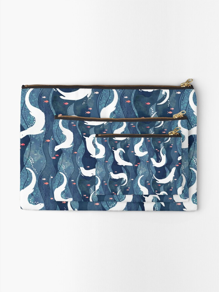 Alternate view of Swimming otters on navy blue Zipper Pouch