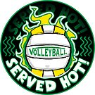 Volleyball Served Hot Green Yellow Vball by MudgeStudios