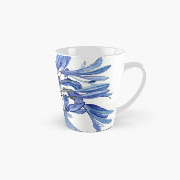 Blue Agapanthus Flower watercolour Painting Tall Mug
