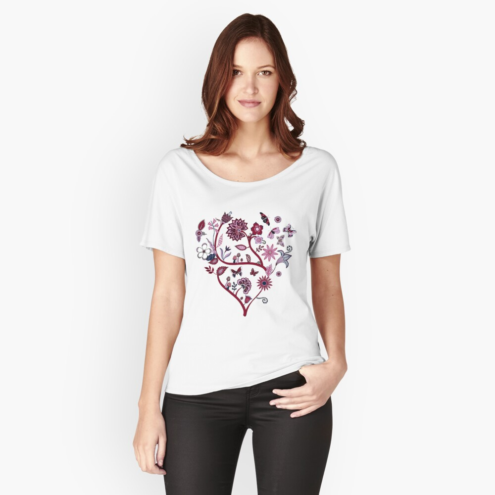 Fantasy Indian Floral - elegant, romantic pattern by Cecca Designs Women's Relaxed Fit T-Shirt Front
