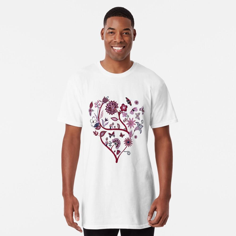 Fantasy Indian Floral - elegant, romantic pattern by Cecca Designs Long T-Shirt Front
