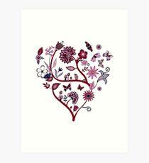 Fantasy Indian Floral - elegant, romantic pattern by Cecca Designs Art Print