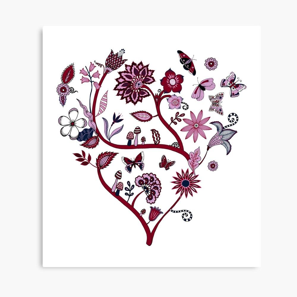 Fantasy Indian Floral - elegant, romantic pattern by Cecca Designs Canvas Print