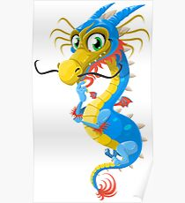 Thoughtful Floating Dragon Poster