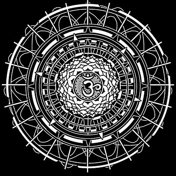 Mandala Om (white) Sacred Geometry Mandala by LeahMcNeir