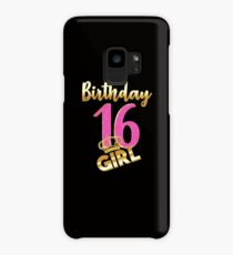 16th birthday- Sweet Sixteen- Gold Crown Girl T-shirt Case/Skin for Samsung Galaxy