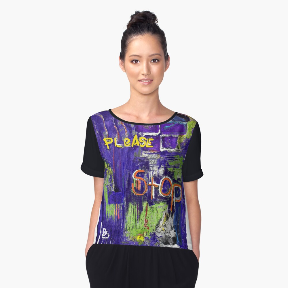 Please Stop - Bright Women's Chiffon Top Front