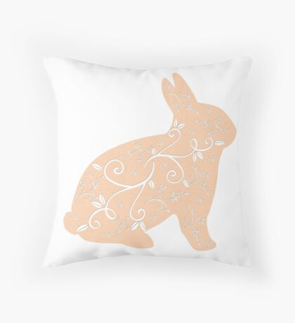Peach Bunny Throw Pillow