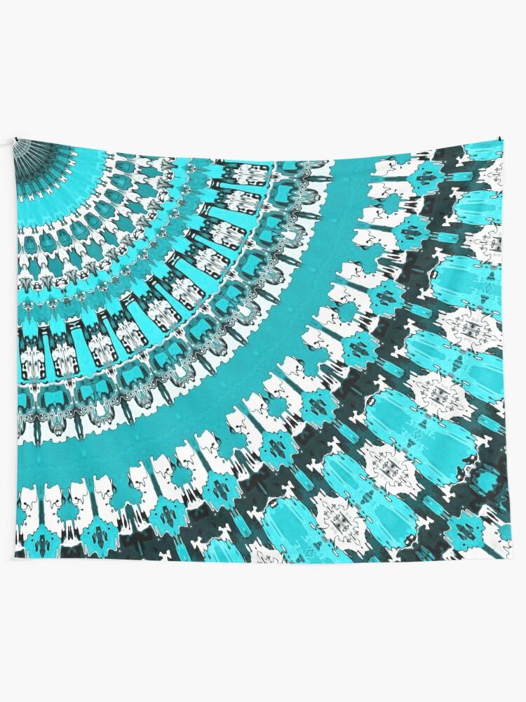 Alternate view of Aquamarine Rays Tapestry