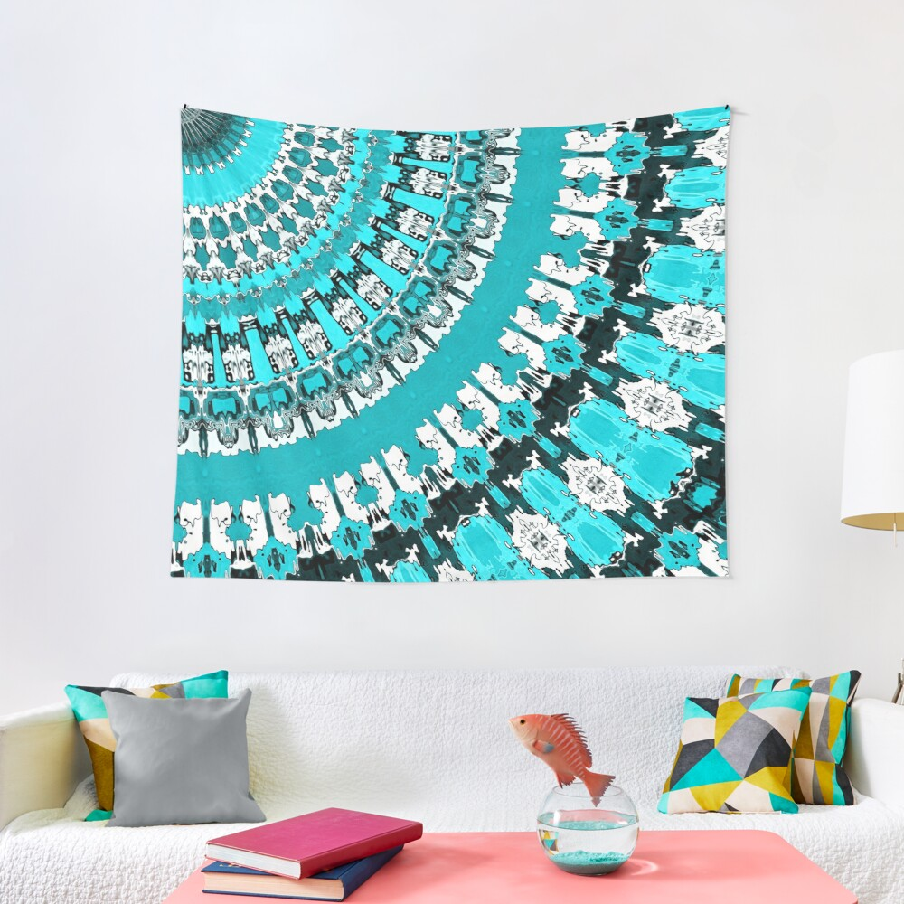 Aquamarine Rays Tapestry