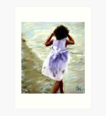Girl in White Dress  Art Print