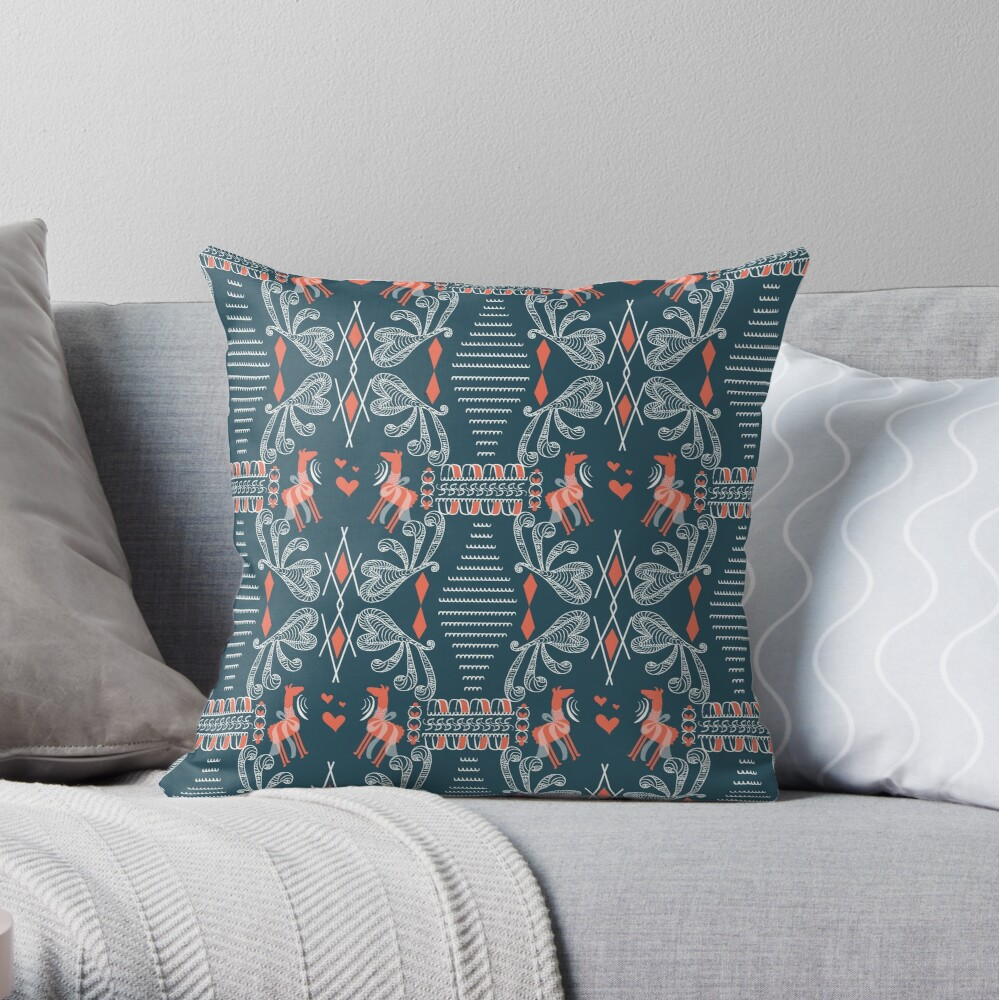 Greek art Llamas  Throw Pillow