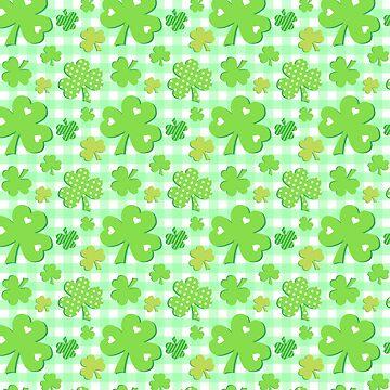 Shamrocks With Green Gingham Pattern by ArtVixen