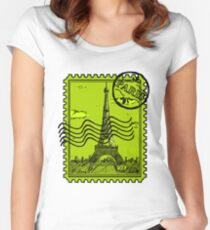 Paris Postage Stamp - Green Women's Fitted Scoop T-Shirt