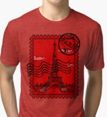 Paris Postage Stamp - Red Tri-blend T-Shirt