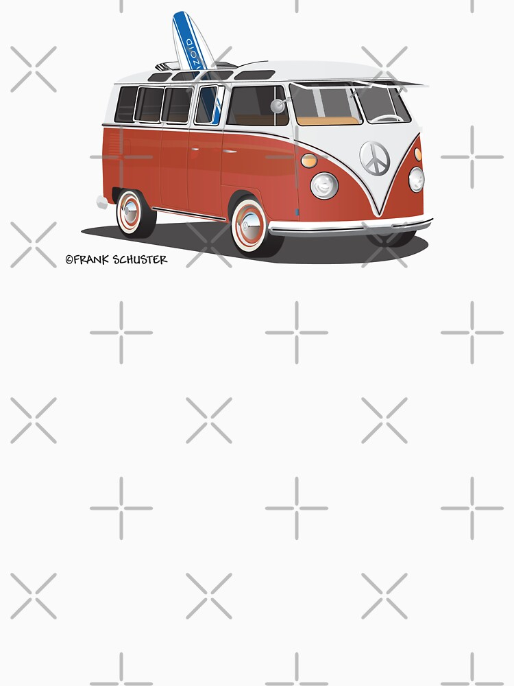 23 Window Split VW Bus Red with Surfboard Peace | Unisex T-Shirt