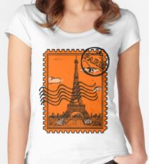Paris Postage Stamp - Orange Women's Fitted Scoop T-Shirt