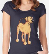 Cute Rhodesian Ridgeback Dog Cartoon Women's Fitted Scoop T-Shirt