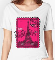 Paris Postage Stamp - Pink Women's Relaxed Fit T-Shirt