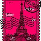 Paris Postage Stamp - Pink by pda1986