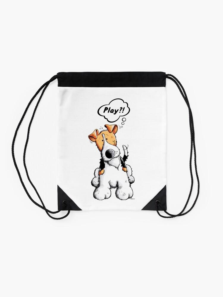 Alternate view of Little Funny Fox Terrier Dog  Drawstring Bag