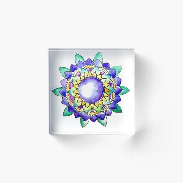 Watercolor Mandala  Acrylic Block