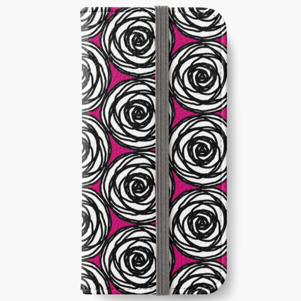 Black and White Rose iPhone Wallet