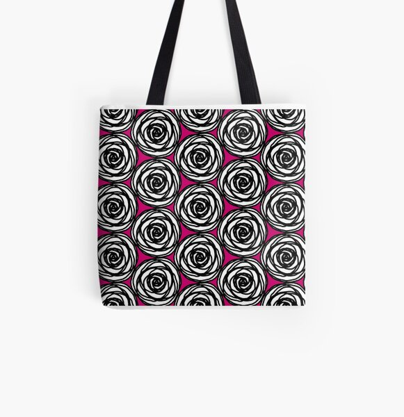 Black and White Rose All Over Print Tote Bag