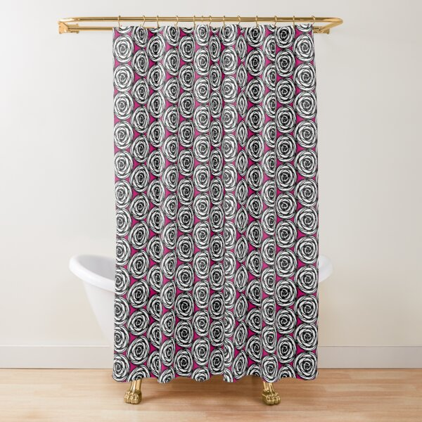 Black and White Rose Shower Curtain