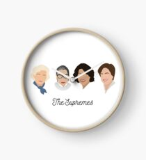 The Supremes (black text/white background) Clock