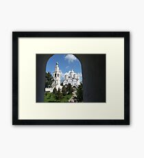 view from the window to the monastery Framed Print