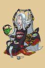Knitting Spider Girl Yokai Drinking Green Tea MONSTER GIRLS Series I by angelasasser