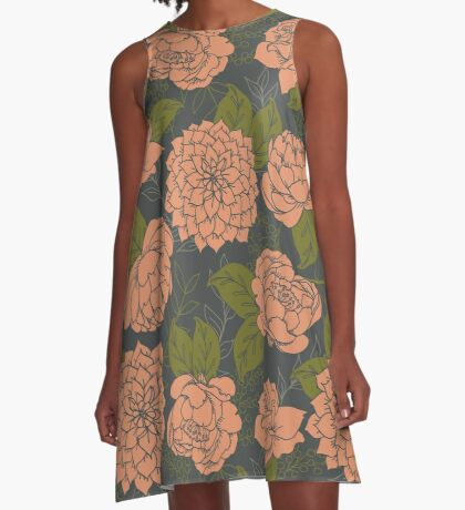 Floral Pattern in Coral and Green A-Line Dress