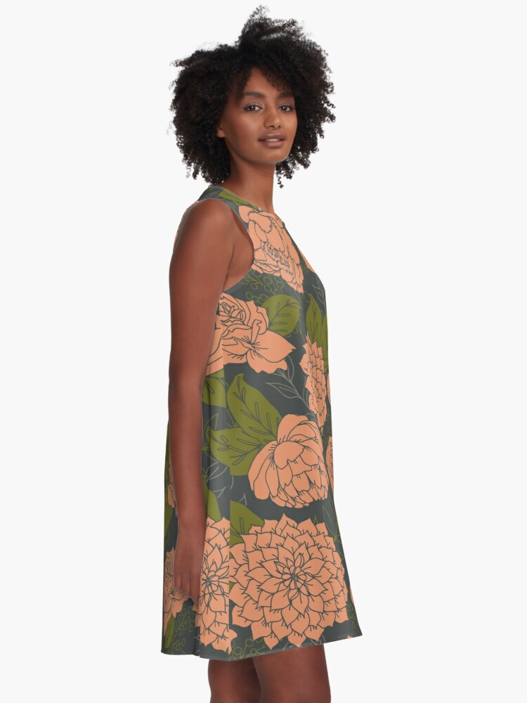 Alternate view of Floral Pattern in Coral and Green A-Line Dress