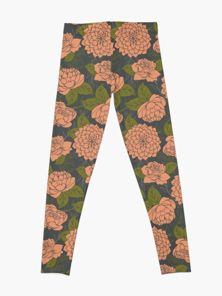 Alternate view of Floral Pattern in Coral and Green Leggings