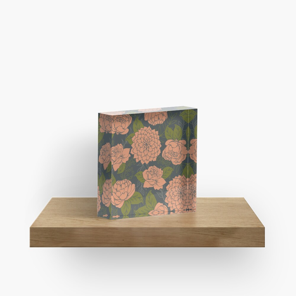 Floral Pattern in Coral and Green Acrylic Block