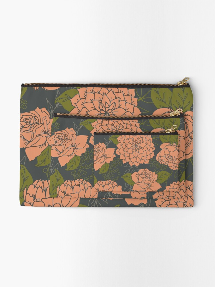 Alternate view of Floral Pattern in Coral and Green Zipper Pouch
