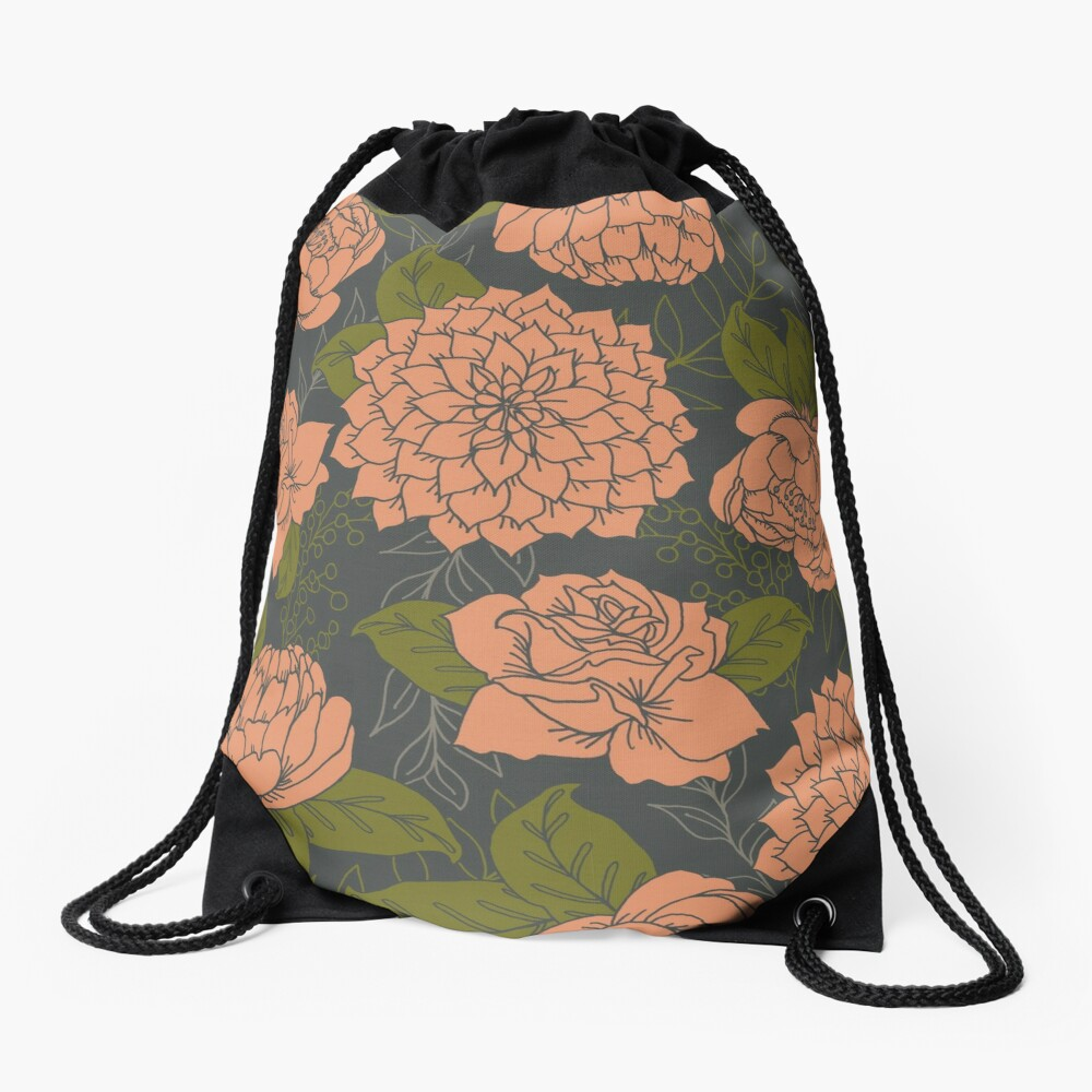 Floral Pattern in Coral and Green Drawstring Bag