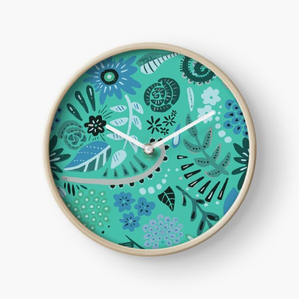 blue floral/blue background Clock