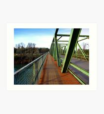 Bridge With a Sidewalk Across the Umpqua River Art Print