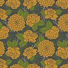 Floral Pattern in Goldenrod by latheandquill