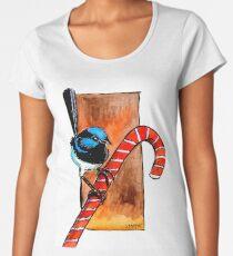 Wren Christmas Candy-cane Women's Premium T-Shirt