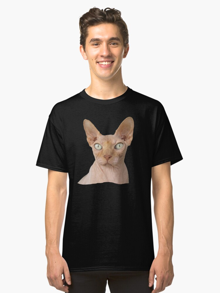 sphynx cat face profile kitty portrait classic t shirt by croneda