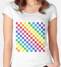 Karierter Regenbogen Tailliertes Rundhals-Shirt