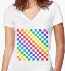 Karierter Regenbogen Tailliertes T-Shirt mit V-Ausschnitt