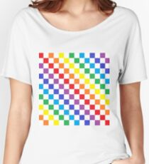 Karierter Regenbogen Loose Fit T-Shirt