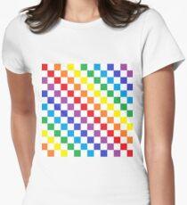 Karierter Regenbogen Tailliertes T-Shirt für Frauen
