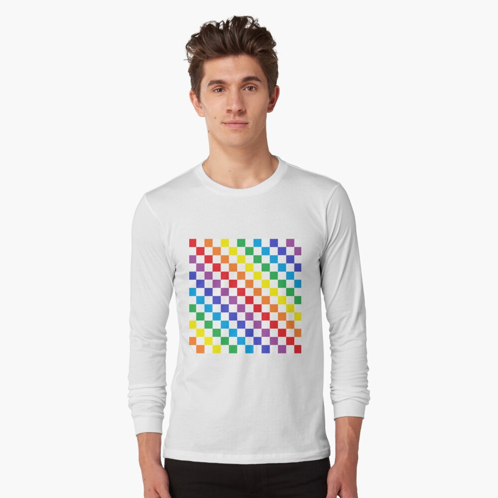 Checkered Rainbow  Long Sleeve T-Shirt